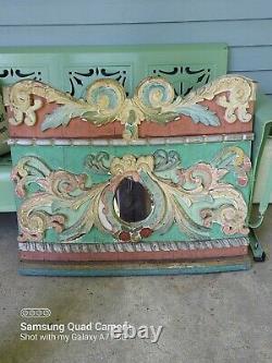 Antique Art Populaire Sculpté À La Main 1800s European Carousel Mirror