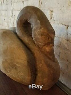 Antique Art Populaire Sculpté À La Main Swan