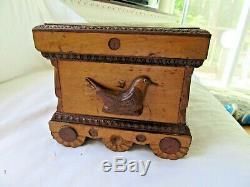Antique Art Populaire Sculpté Oiseaux Stationary Boîte Victorienne Pays Primitif Coffre