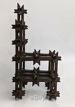 Antique Art Tramp Sculpté Bois Couronne D'épines Miniature Président Du Trône Folk Art