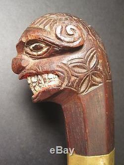 Antique Asie Philippines Bolo Tribal Primitif Épée Folk Art Sculpture Bois Peinture