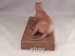 Antique C1920 Folk Art Primitive Wood Carving Of Dogattrib À Samuel Thatcher