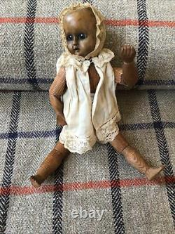 Antique Carved Articulated Folk Art Doll 19th Glass Eyes 26cm