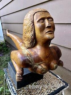 Antique Carved Folk Art Mermaid, Mascotte Des Navires Maritimes, 1930-1940, Signée