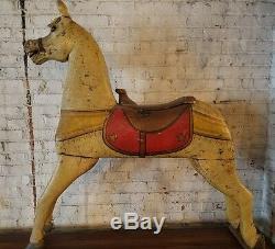 Antique Charles Dare Sculpté & Painted Cheval De Carrousel Americana Folk Art