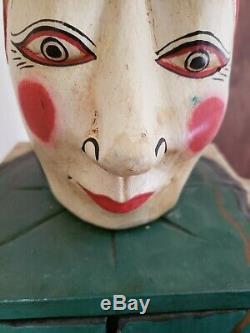 Antique Cirque Art Populaire Carnaval Jester Clown Cabinet En Bois Sculpté À La Main Cabinet