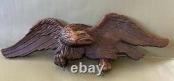Antique Début Du 20thc Folk Art Wood Sculpté Patriotic Eagle Trade Sign Bellamy Styl