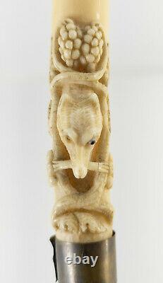 Antique Finement Sculptée De L'art Populaire Canne Bâton De Marche Forêt Noire Loup Raisins