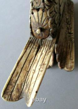 Antique Folk Art Brosse De Bovins Sculptés À La Main 12 Eagle