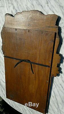 Antique Folk Art Carved Bachique Faun Raisins Miroir 26,5 Par 16
