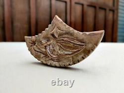 Antique Folk Art Fleur D'oiseau Main Beurre Sculpté Timbre Primitif Treenware Rare