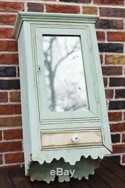 Antique Folk Art Meilleur Vieille Peinture Médecine Primitive Miroir Mural Cabinet Sculpté