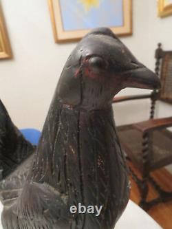 Antique Folk Art Primitive Hand Carved Wood Rooster Chicken Sculpture