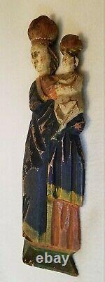 Antique Folk Art Sculpté Bois Madonna Et Enfant Santos Figure Original Polychrome