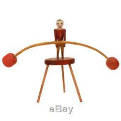 Antique Folk Art Toy Danse Man Balancing Figure C. 1920 Sculpté À La Main Aafa