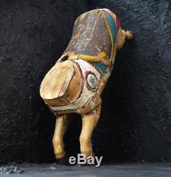 Antique Français Fairground Carousel Pig Rare Folk Art Décoratif Sculpté À La Main