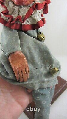 Antique Gant Puppet Jester Elf Folk Art C1920 Sculpté À La Main