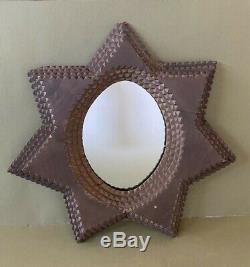 Antique Inhabituel Tramp Folk Art Chip Sculpté 6 Miroir Étoile