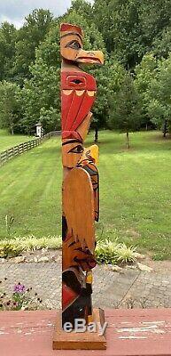 Antique Magnifique / Vintage Sculpté Et Peint Pôle Folk Art Totem 30 Wyoming