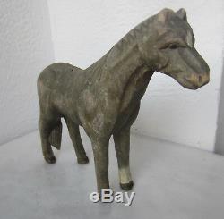 Antique Main Primitive Carved Cheval Chiffre Jouet Statuette. La Sculpture D'art Populaire