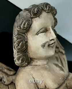 Antique Main Sculptée Ange Chérubin Folk Art Artemis Putti Figure 14 Tall