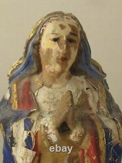 Antique Mexicaine Maria Santo Figure Main Sculpté Peinture Originale 9 3/4 T 19e C