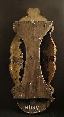 Antique Mexicaine Sculpté Bois Nicho Autel Avec Angel 22 Folk Art Mexique