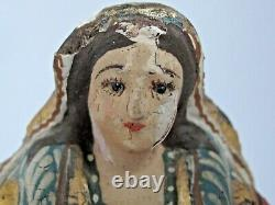 Antique Mexicaine Vierge Santa Hand Carved Original Paint 8 Tall 19th C