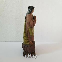 Antique Old Art Populaire Mexicain Santo Bois Statue Figure Sculpté Saint Religous Vtg