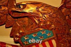 Antique Original Vintage Gilded Carved American Folk Eagle Wall Plaque Sculpture