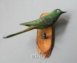 Antique Peinture À La Main Folk Art Bois Sculpté Bird