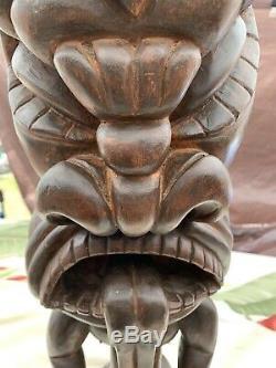 Antique Polynésien Tiki Sculpté À La Main En Bois Statue Dieu Folk Art Wow