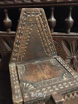 Antique Scratch Made Chip Carved Wooden Small Salt Box Hinged Folk Art