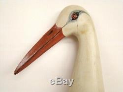 Antique Sculpté À La Main Polychrome Folk Art Stork 37