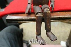 Antique Sculpté En Bois En Bois Artiste D'art Populaire Modèle Manniquin Lay Figure 13 Grand