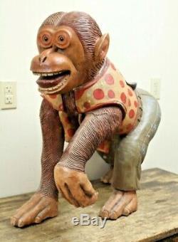 Antique Sculpté Singe De Bois Carnaval Des Animaux Carousel Foire D'art Populaire Rond-go-joyeux