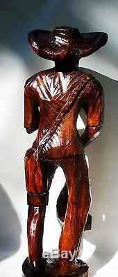 Antique Statue Primitive Folk Art Sculpture Sculpture Americana Noir De Collection