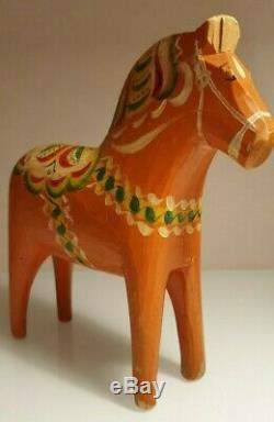 Antique Suédois Dala Horse. Art Populaire Sculpté Suède Peint À La Main. 8