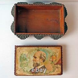 Antique Tramp Art Folk Art Chip-carved Covered Box