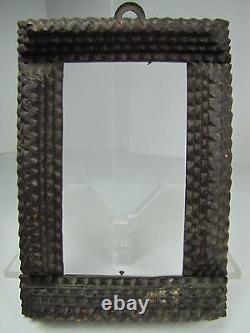 Antique Tramp Art Frame Main Sculptée Ornée De Petit Art Folklorique Décoratif