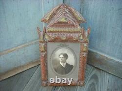 Antique Tramp Folk Art Frame Photo Hand Carved Wooden Layers Gold Leaf Paint