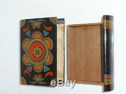 Antique Treen Bois Livre Tiroir Secret Puzzle Box Art Populaire En Bois Peint Sculpté