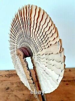 Antique Victorian Art Populaire Sculpté Bois Treen Fan Signé Daté 1855 Welsh Slate
