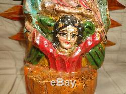 Antique / Vintage Folk Art Bois Sculpté Notre-dame De Guadalupe Statue