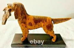 Antique Vintage Folk Art Main Sculptée Peint Chien De Chasse Anglais Setter Avec Quail