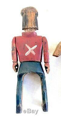 Antique / Vtg Art Populaire Primitif Sculpté À La Main En Bois Santo / Soldat À Cheval