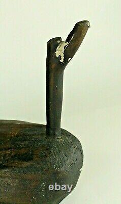 = Antiquité 19ème C. Leurre De Canard Folklorique De Bois Sculpté Tôt, Primitif De La Nouvelle-angleterre