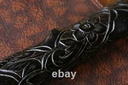 Argent Surmonté Bog Oak Bâton De Marche. Sculpté Folk Art Main Serpent 1888 Canne