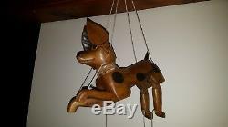 Art Antique American Folk Marionette Beagle Dog Wood Carving Articulé Head