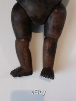 Art Antique Folk Inhabituel En Bois Sculpté Deux Faced Médecins Doll